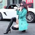 2017 elegante mulheres PU LEATHER trench coat plus size 3XL moda mulheres primavera outono longo casaco de couro preto vermelho amarelo 6 tamanhos