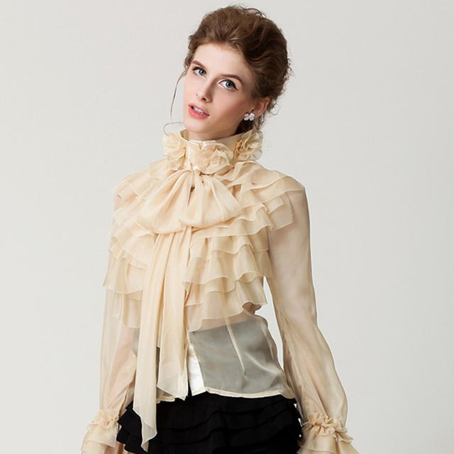6dff0d1f3a6d9e New Runway Brand Designer Shirts Women Ladies Princess Royal Chiffon  Ruffles Long Sleeve Bow Cascading Ruffle Blouse Shirt Top