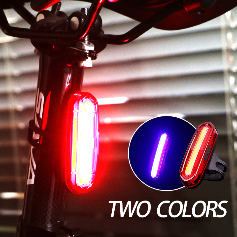 Bike light rear taillights red white led usb rechargeable mountain ...
