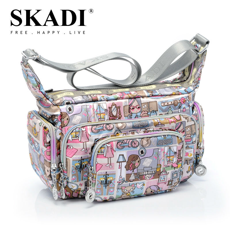 Women Messenger Bags Print Floral Shoulder Canvas Crossbody bag Nylon Oxford Fabric Women's Handbag Bolsas Femininas women handbag shoulder bag messenger bag casual colorful canvas crossbody bags for girl student waterproof nylon laptop tote