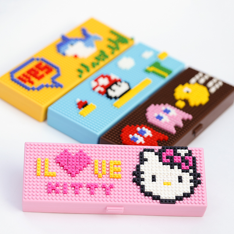 DIY Creative Cute Anime ABS Building Blocks Assembled Student Stationery Box Primary School Children's Gift Prizes  Pencil Case