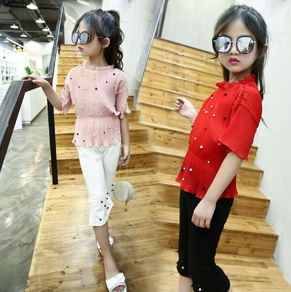 Girls Clothing Sets Summer 2018 Kids Girls Chiffon T-shirt + Pants 2pcs Suits Children Clothes Toddler Baby Outfits chiffon shirt summer two sets with pants suit