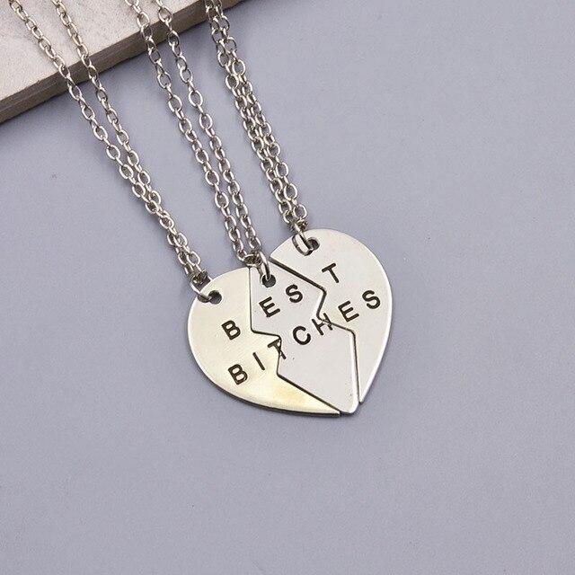 2b631d5fae45 Nueva moda accesorios joyería carta deseo Split corazón conjunto colgante collar  regalo para mujer chica N1560