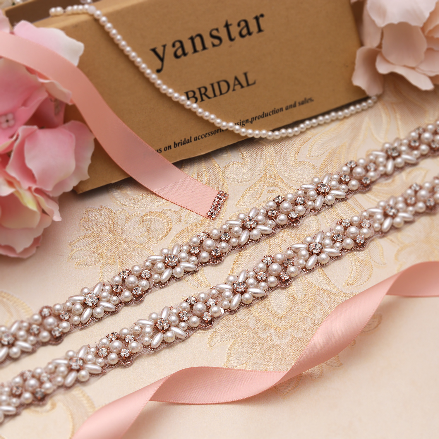 MissRDress Pearls Wedding Belt Rose Gold Crystal Bridal Belt Elegant Rhinestones Bridal Sash For Wedding Accessories JK803