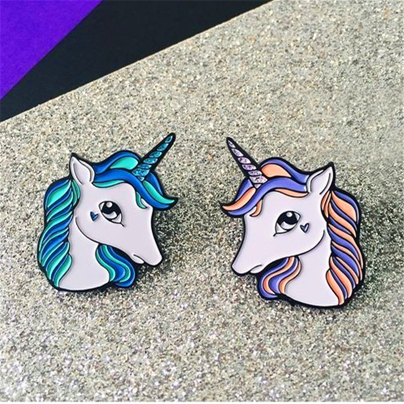 a0bd3b97b822b Tong qu creative little cute animal unicorn brooch fine coat sweater shirt  collar pin bag accessories