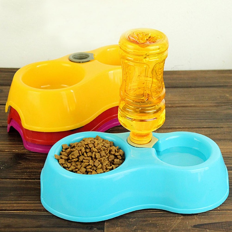 1pc Dishes For Cats Dog Water Dispenser Automatic Pet Feeder Dual Port Bowl Bottle For Dogs Pet Feeding Supplies #11045