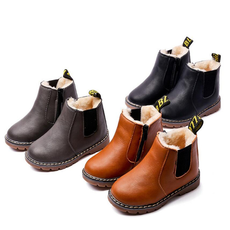 Winter Warm Children Boots For Girls 2019 Fashion PU Leather Kids Shoes Plush Ankle Martin Boot Girl Felt Snow Boots With Zip