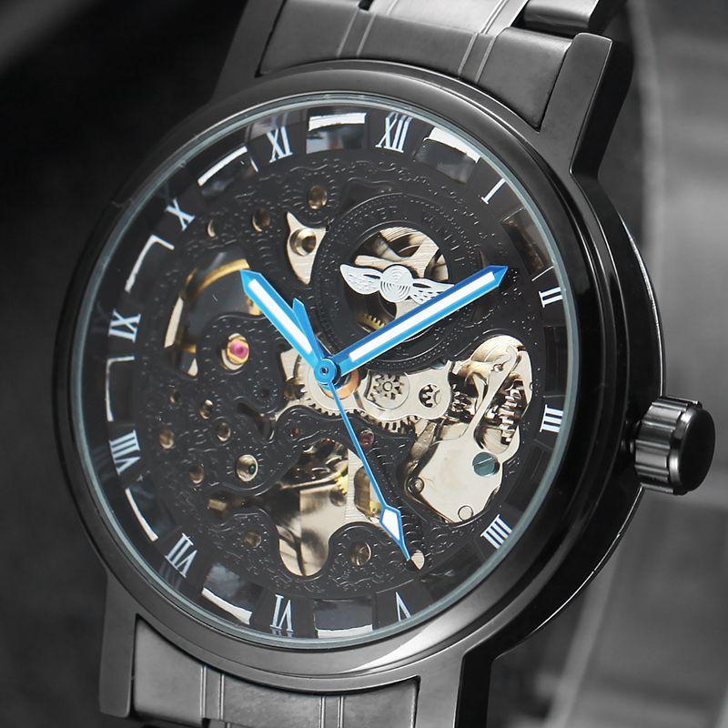 Luxury Brand Automatic Watches Mens Classic Self Wind Skeleton Mechanical Watch Fashion Wrist Watch mechanical leather wrist watch gift new mens square skeleton self wind watches