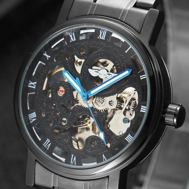 3abe9f32270 Marca de luxo Relógios Mens Clássico Esqueleto Auto Vento Automático Relógio  Mecânico Relógio de Pulso de