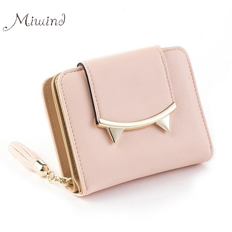 2017 Korean Cute Cat Anime Leather Trifold Slim Mini Wallet Women Small Clutch Female Purse Coin Card Holder Dollar Bag Cuzdan