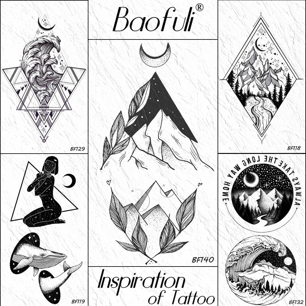 Baofuli Small Mountain Moon Galaxy Temporary Tattoos For Children Kids Body Art Tattoo Geometric Black Fake Tatoo Arm Women Men Buy At The Price Of 0 43 In Aliexpress Com Imall Com