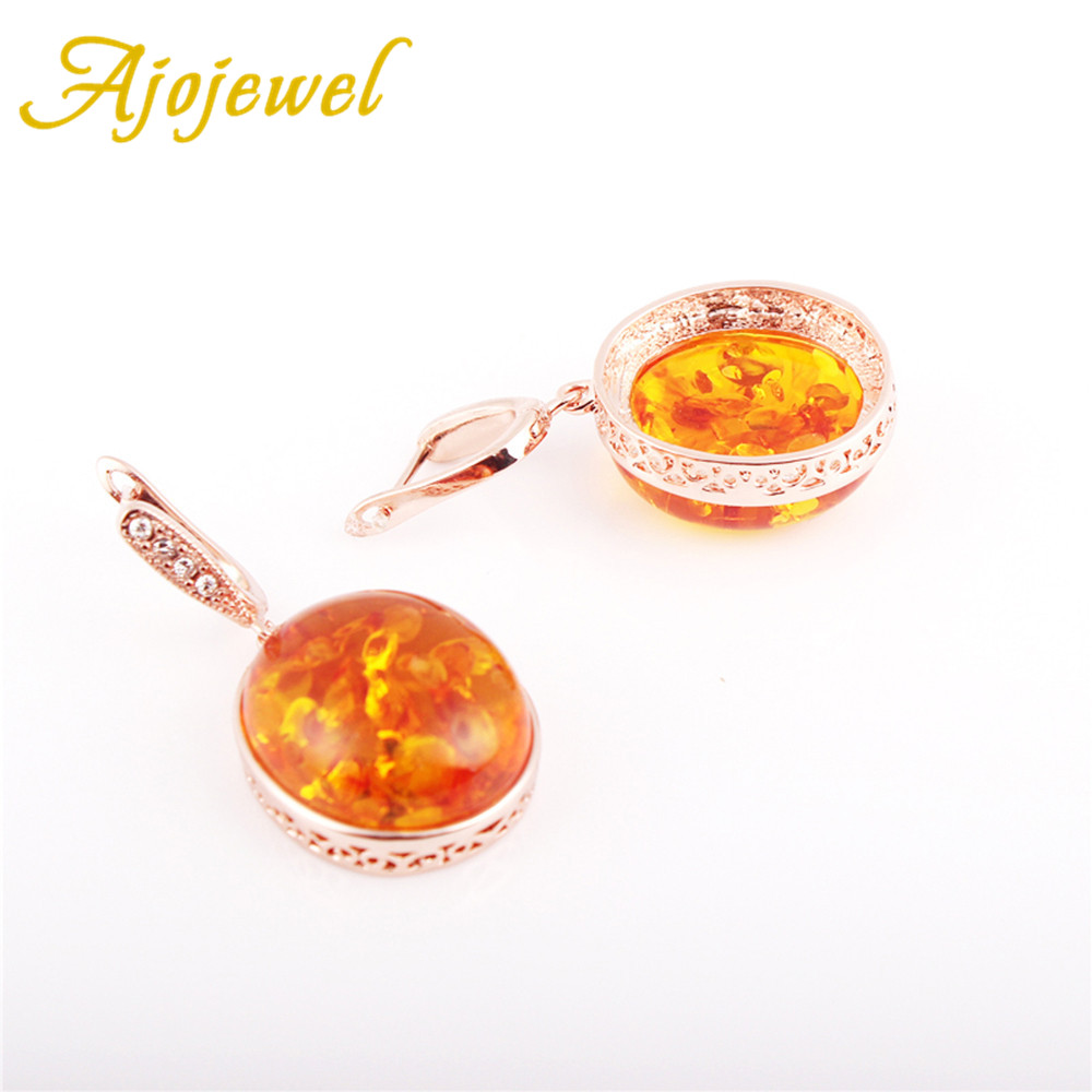 Ajojewel Hot Sale Top Quality Big Oval Orange Stud Earrings Exaggerated Trendy Style For Women Jewelry in Stud Earrings from Jewelry Accessories