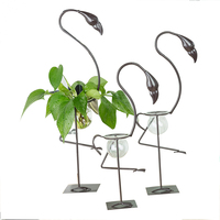 Home Decoration Miniatures Furnishing Artistic Flamingo Model Metal Water Planting Seed Pastoral Style Office Decorative Crafts
