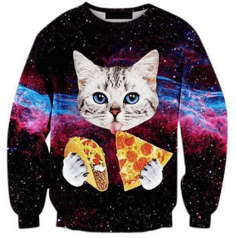 2016 Spring Men/Womens Head Creative Sweatshirts 3D funny Cat Painter Tops Clothing new designer mens cool cat pattern hoddies