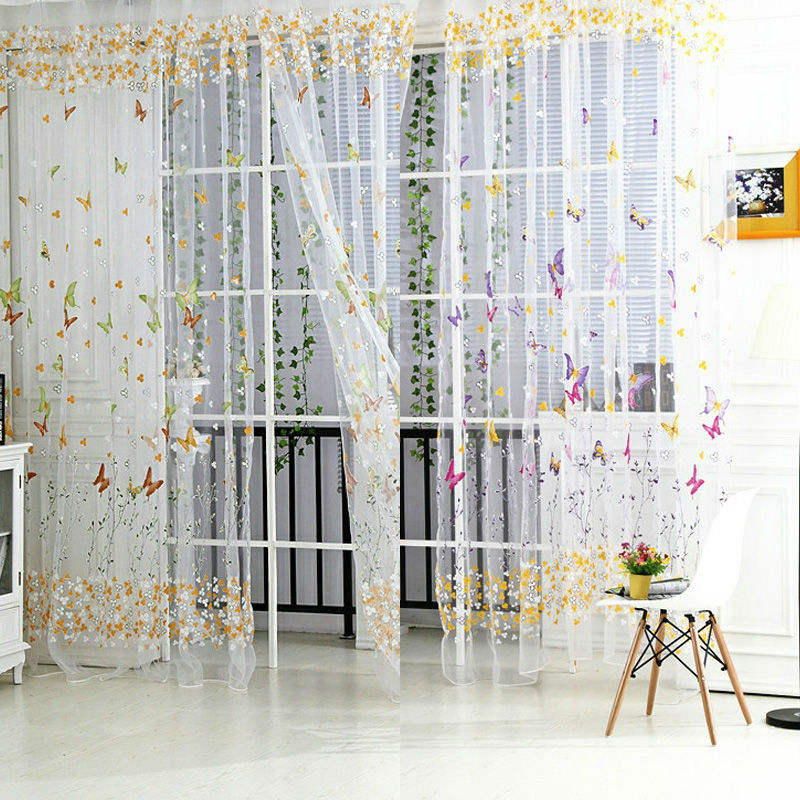 1 PC Butterfly Floral Tulle Voile Window Curtain, voile curtains,Tulle on the window,curtain voile,curtains butterfly E5M1