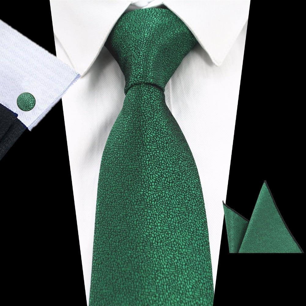 GUSLESON Brand New Solid Color Tie Set 8cm Black Green Necktie Gravata Pocket Square Paisley Silk Tie Handkerchief Cufflinks