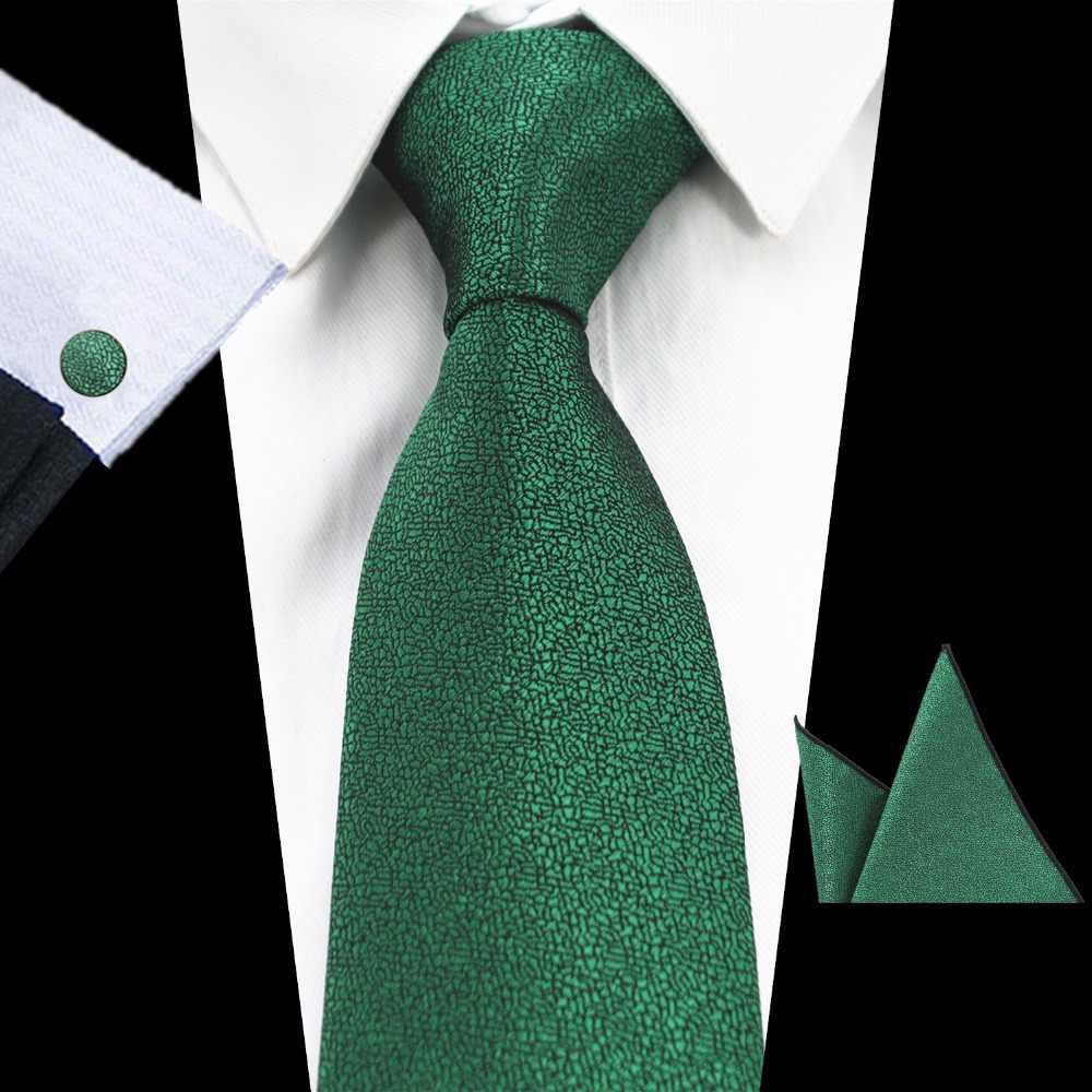 51900adf6a3fe GUSLESON Brand New Solid Color Tie Set 8cm Black Green Necktie Gravata Pocket  Square Paisley Silk