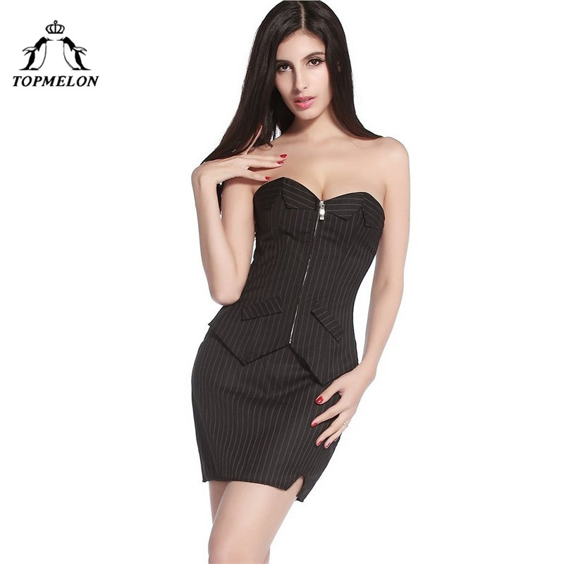 TOPMELON Corset Dress Gothic Steampunk Corselet Slimming Shapwear Black Striped Shows Party Club Lace Up Corset Dresses