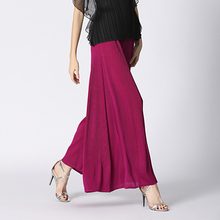 Changpleat 2019 Summer New Women wide legged pants Miyak Pleated Fashion Solid loose Large Size Elastic waist Female trousers
