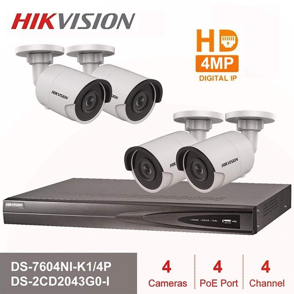 Hik 4CH HD POE kit nvr DS-7604NI-K1/4 P 4 pièces 4MP DS-2CD2043G0-I IP Caméra IR vision nocturne Ensemble de Surveillance gratuite expédition rapide