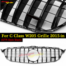 W205 GT R Grille ABS gloss Black Mesh Without Camera C-Class Sports C180 C200 C250 C300 Front Bumper Grills sign 2015-18