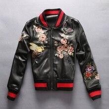 2017 fashion genuine leather jacket lady black sheepskin real leather coat Embroiderey slim fit women baseball clothing