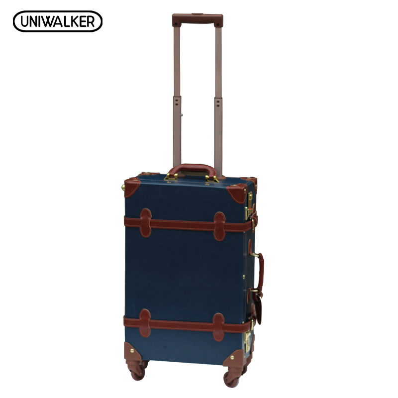 24 inch Vintage Luggage,Password Lock Suitcase,Universal Wheels Trolley,PU Leather, Part of Rods is External vintage suitcase 20 26 pu leather travel suitcase scratch resistant rolling luggage bags suitcase with tsa lock