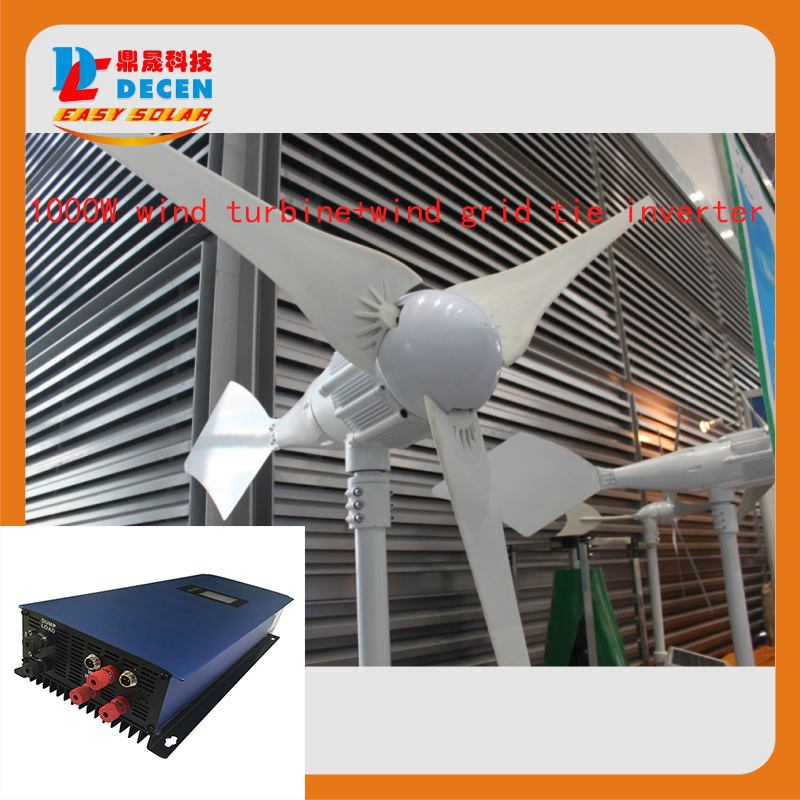 MAYLAR@ 1000W 48V Wind Turbine Dolphin+1000W 45-90VDC Wind Grid Tie Inverter For Wind Power On-grid Tie or Off-grid System maylar 2000w wind grid tie inverter pure sine wave for 3 phase 48v ac wind turbine 90 130vac with dump load resistor