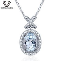 DOUBLE R 1 6ct Natural Diamond Pendants Female 925 Silver Oval Topaz Pendant Necklace Classic Mother