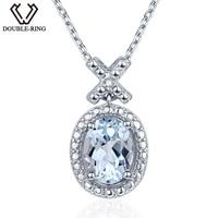 DOUBLE R 1 6ct Natural Diamond Pendants Female 925 Silver Oval Topaz Pendant Necklace Classic Mother