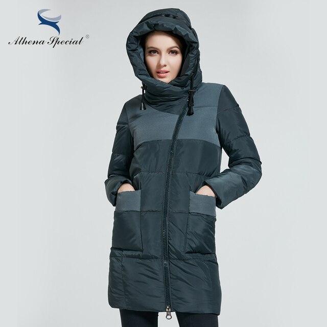 Athena Special 2018 Новая Теплая Зимняя Женская Куртка Длинная Теплая Женская Парка зимний женский пуховик с Капюшоном пальто женское Мод Высокого Качества в Европейском Стиле