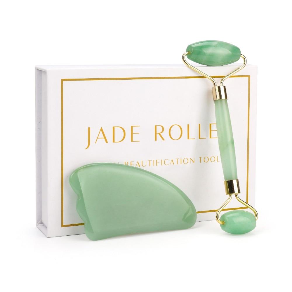 Natural Quartz Roller Slimming Face Massager Lifting Tool Jade Facial Massage Roller Stone Skin Massage Beauty Care Set Box