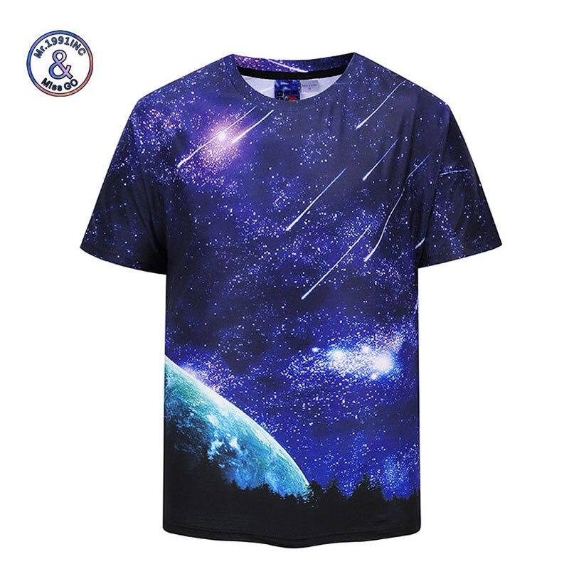 Mr.1991INC 2018 Для мужчин S Футболка синий Для мужчин топы хип-хоп Футболка Для мужчин печати Galaxy метеорный поток короткий рукав Повседневная 2XL фу...