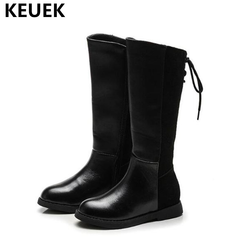 New Winter Knee-High Boots Children Girls Genuine Leather Boots Princess Flat wit Short Plush Toddler Kids Snow Boots Baby 03 new winter snow boots children girls genuine leather boots princess student warm with plush toddler shoes kids 041