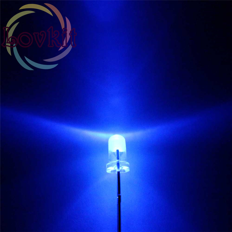 High Quality 100pcs 3MM Round Top Blue Leds 3mm Ultra Bright LED Light Emitting Diodes Electronic Components Wholesale Retai