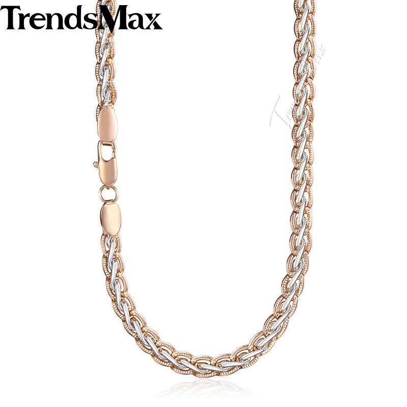 Trendsmax Tissage Blé Collier Femmes Hommes de 585 Blanc Rose Gold Filled Chaîne de Blé 6mm KGN461
