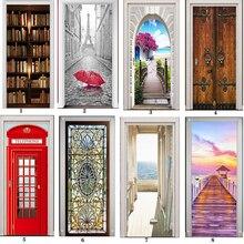 ПВХ Фреска бумага печать искусство 3D книжная полка башня морская дверь наклейки домашний Декор Картина самоклеящаяся Водонепроницаемая настенная бумага для спальни