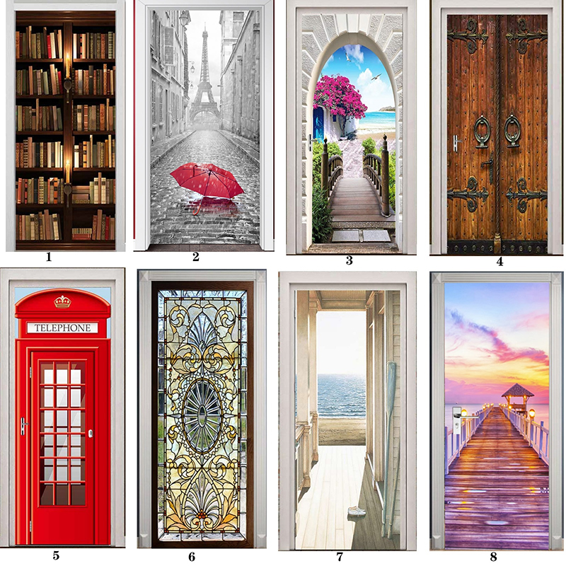 PVC Mural Paper Print Art 3D Bookshelf Tower Sea Door Stickers Home Decor Picture Self Adhesive Waterproof Wallpaper For Bedroom