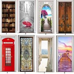 Papel Mural de PVC impreso arte 3D estantería Torre mar puerta pegatinas decoración del hogar foto autoadhesiva impermeable papel tapiz para dormitorio