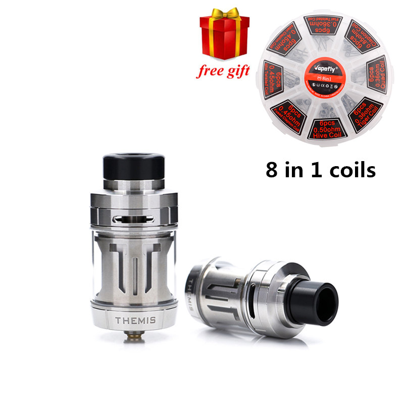 Free gift! Digiflavor Themis RTA 5ML/2ML Dual/mesh version Builds Leak-Proof with Mesh wires Top to bottom Airflow System