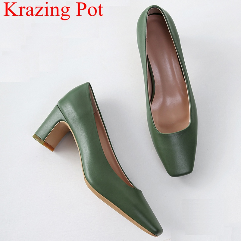 2018 new arrival genuine leather square heels women pumps concise office lady elegant shallow slip on solid sweet work shoes L25 bonjomarisa 2018 spring autumn new genuine leather pumps elegant concise decoration shoes woman shallow slip on shoes