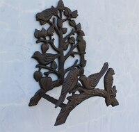 Country Style Cast Iron Birds On Tree Garden Hose Holder Rustic Decorative Hose Reel Hanger Ornate