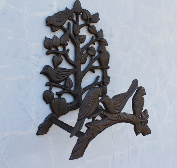 Country Style Cast Iron Birds On Tree Garden Hose Holder