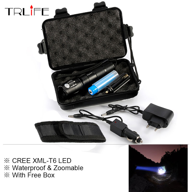 High Power 6000 Lumens Flashlight cree XML T6 Torch Adjustable Led Flashlight +DC/Car Charger+1*18650 Battery+Holster Holder cree xml t6 3000lm adjustable led flashlight led torch car charger battery charger 18650 rechargeable battery holster zk10