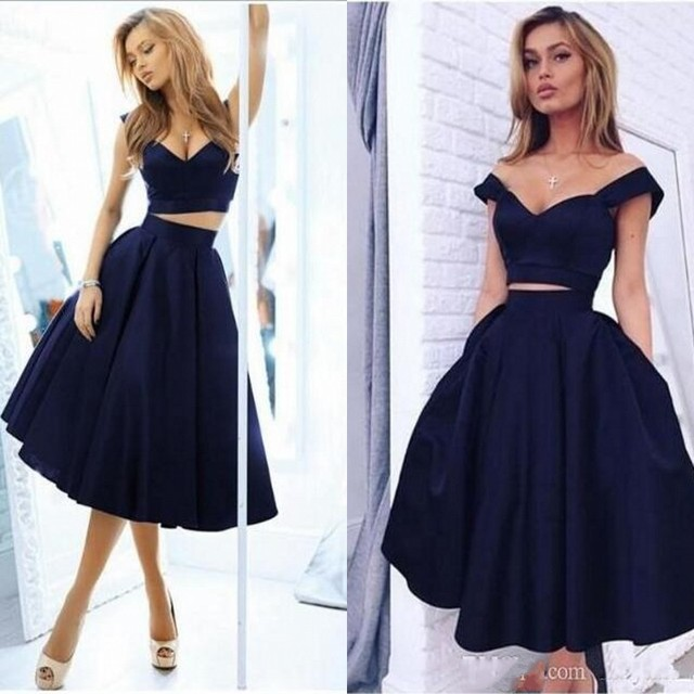 4e56bab41b13 Navy Blue Two 2 Piece Short Prom Dresses Simple 2019 V Neck Sleeveless  Satin A Line Tea Length Special Occasion Homecoming Dress