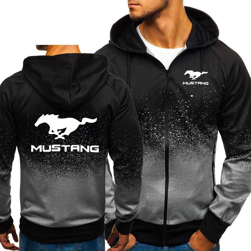 Hoodies Men Mustang Car Logo Print Casual HipHop Harajuku Gradient Color Hooded Fleece Sweatshirts Zipper Jacket Man Clothing
