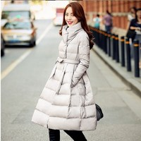 2018 Drawstring Waist Ladies Quilted Nnd Jackets White Duck Down Long Women Winter Parka Outerwear Puffer Coats For Women