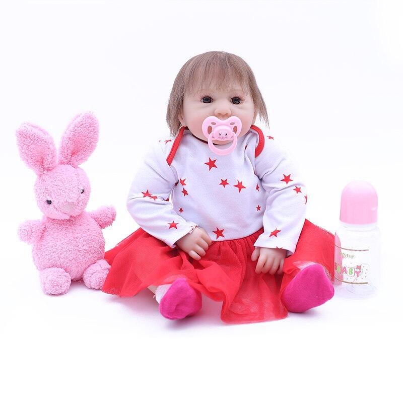 bebes reborn doll 47cm New Handmade Silicone reborn baby dolls adorable Lifelike toddler Bonecas girl gift menina de silicone