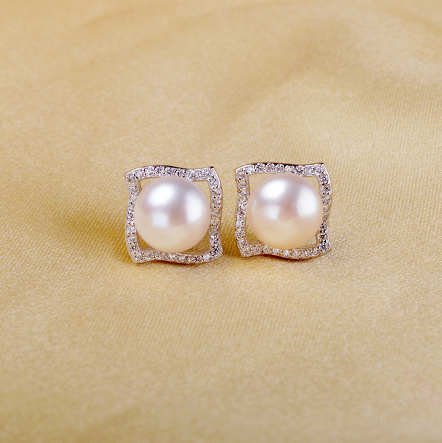 925 Sterling Silver Earring With Freshwater Pearl100% Natural pearl earring For Women Engagement Earring 8-9mm White Pink Purple