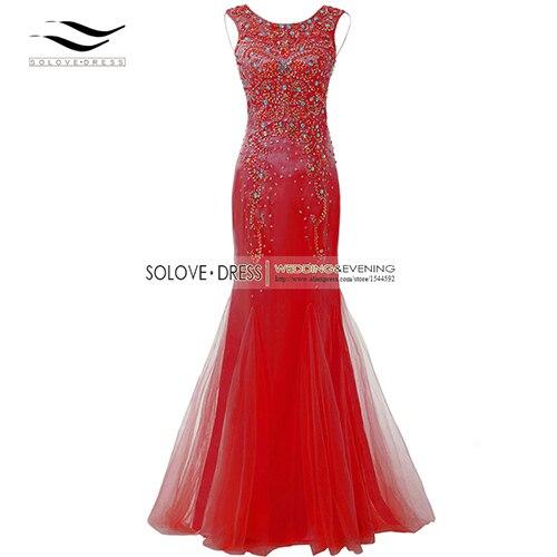 Элегантная ткань Накладка для кнопки рукав Кристалл бисером длинное платье выпускного вечера тюль русалка платье выпускного вечера Longo Vestido de festa(SLP-011 - Цвет: Red